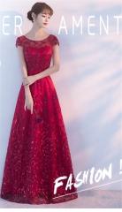Cestbella Elegant New Trend Floral Appliqued Waist Slim Bridesmaid Dress per picture us  4