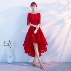 Cestbella High Quality Short Front Long Back Lace Appliqued Bridesmaid Dress Red us  4