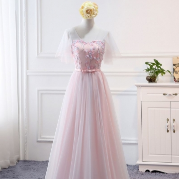 Cestbella Fashion Per Picture Lace Appliqued Vivid Pink Round Neck Bridesmaid Dress 145CM us  4