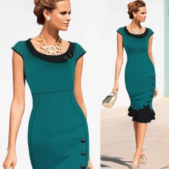 Cestbella New Casual Office Women Formal Dress Pencil Dress Patterned Uniform Dresses Per Picture green s