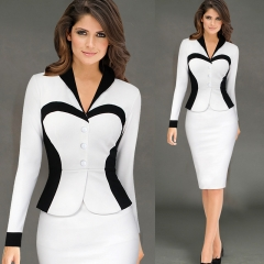 Cestbella Elgant Casual Pencil Dress Work Style Formal Uniform Dresses white s