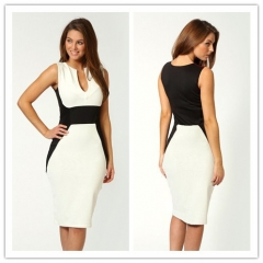 Cestbella Fashion Patchwork Low Neck Dress Work Style Uniform Formal Pencil Dress Sexy Dresses white s