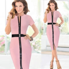 Cestbella Fashion Patchwork Low Neck Dress Work Style Uniform Formal Pencil Dress Sexy Dresses pink s