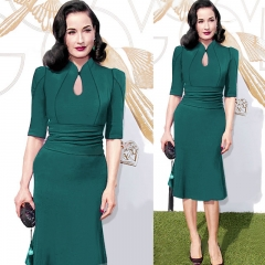 Cestbella Fashion Dot Patchwork Dress Work Style Uniform Formal Pencil Dress Sexy Dresses green s