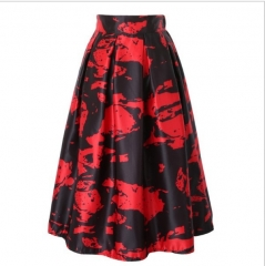 GAMISS Women Vintage Peach Blossom Floral Print Skirts white All code