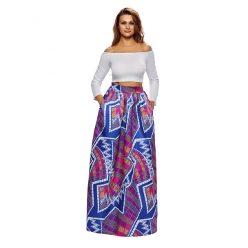 2017 new high waisted flower print dress Abstract African tribal Retro Black Beauty skirt Violet m