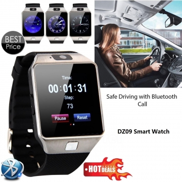 Smart Watch DZ09 With Camera Bluetooth WristWatch SIM Card ios Android Support Multi Languages Silver 1