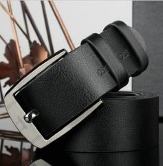 Business Leisure Wide PU Faux Leather Belt Men Designer Belts Elegant Shining Metal Buckle 125cm black 110-125cm