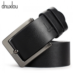 Quality Pin Buckle Male Faux Leather Belt Black Brown Business Brand Belts Metal Buckle Waistband black 110-125cm