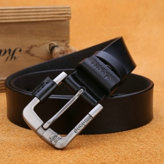 Men's belt leather buckle belt in young cattle leather belt black 110-125cm