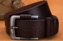 Men's belt leather buckle belt in young cattle leather belt brown 110-125cm