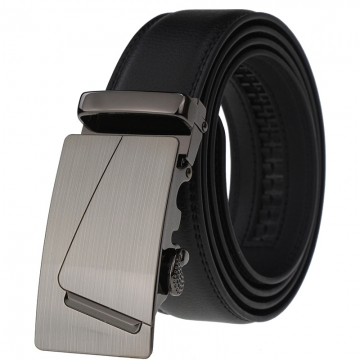 Automatic belt buckle type men's leather belt leather belt black 110-125cm