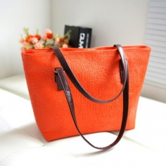 Oracle Shoulder Embossing Handbag Top Handle Big XCHF3 Orange 1