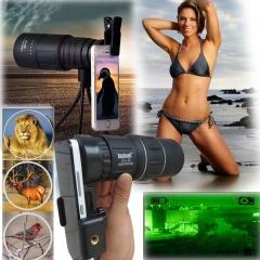 3 Types Dual Focus 16 x 52 HD Optics Telescope Zoom Optic Lens Armoring Monocular Phone black 1