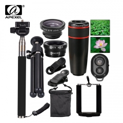 10in1 Phone Camera Lens 12x Lenses Fish Eye Fisheye Lentes Wide Macro Lenses Selfie Stick black