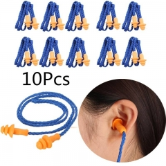 10Pcs Soft Silicone Corded Ear Plugs ears Protector Reusable Hearing Protection Noise Reduction orange 1