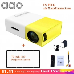Portable Projector 500LM 3.5mm 320x240 HDMI USB Mini YG-300 Projector Home Media Playe white 1