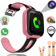 Kids Smart Watch Phone Boys Girls GPS Tracker Smart Wrist SIM Fitness Trackers Camera Touch Screen pink 1