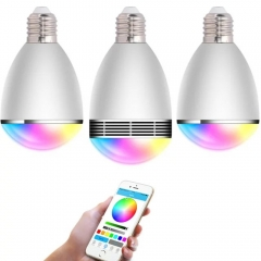 3pcs LED Blub Light 7 Color  Intelligent APP Remote Wireless Bluetooth  Speaker for Iphone Android white 16 12