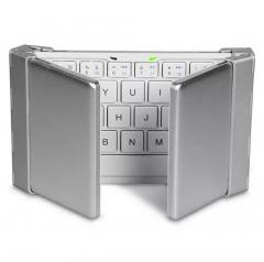 Folding Bluetooth  flat universal keyboard with three keyboard Smartphone, tablet PC silver