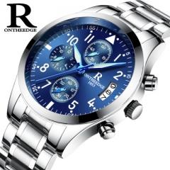 Men's Quartz Watch Top Luxury Watches Relogio Masculino Fashion Casual Erkek Saatleri Waterproof Black