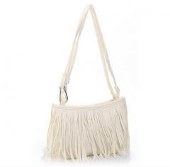 Joyism Retro Engraving and Tassel Design Women Shoulder Bag. Crossbody Bags White f