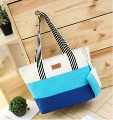 Joyism High Capacity Stripe Letter Patchwork Canvas Zipper Portable Bag light blue f