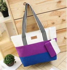 Joyism High Capacity Stripe Letter Patchwork Canvas Zipper Portable Bag purple f