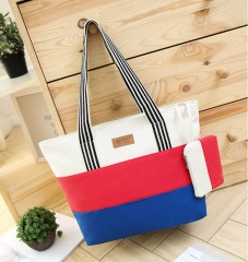 Joyism High Capacity Stripe Letter Patchwork Canvas Zipper Portable Bag light red f
