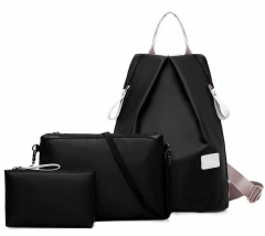 JoyismHandbags 3pcs Solid Color Nylon Handbag Tote Portable Backpack black f