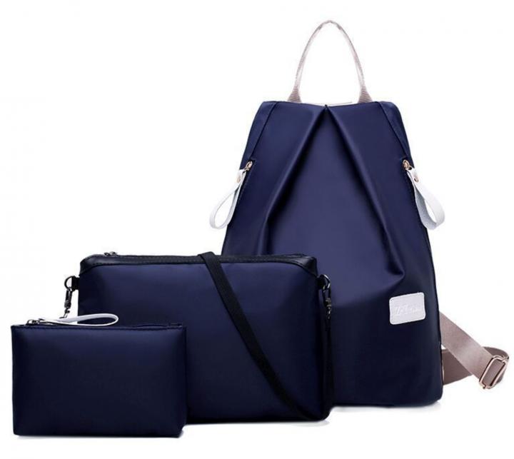 JoyismHandbags 3pcs Solid Color Nylon Handbag Tote Portable Backpack blue f