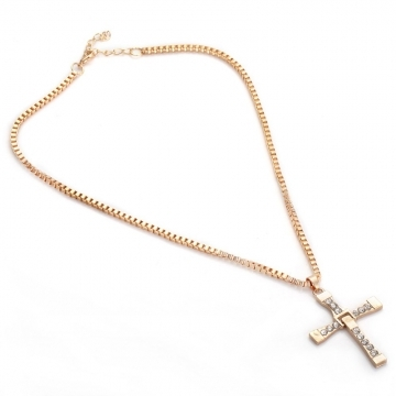 Joyism New Fashion Cross Rhinestone Alloy Necklace for Women Golden One size golden f