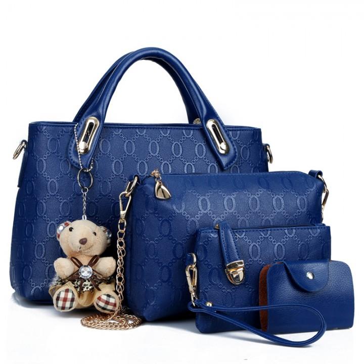 6 colors Classic Fashion Women Luxury Handbag PU Leather Genuine Bags blue f