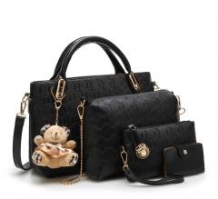 6 colors Classic Fashion Women Luxury Handbag PU Leather Genuine Bags black f
