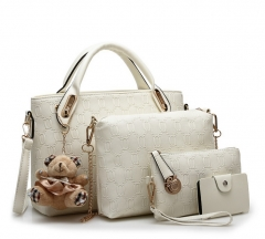 6 colors Classic Fashion Women Luxury Handbag PU Leather Genuine Bags white f