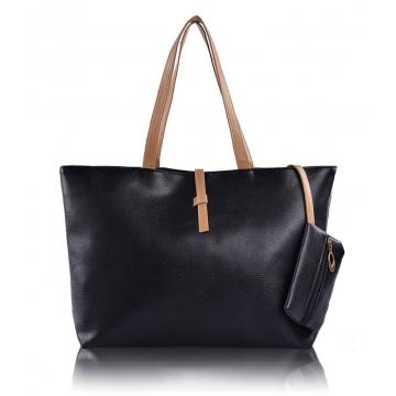Joyism High Capacity Handbag Fashion Buckle Shoulder bag. One large and one small Black f