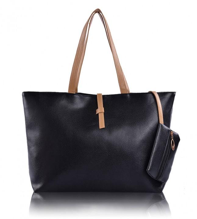 JoyismHandbags High Capacity Handbag Fashion Buckle Shoulder bag black f