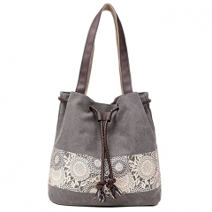 JoyismHandbags Printing Canvas Shoulder Bag Retro Casual Handbags gray f