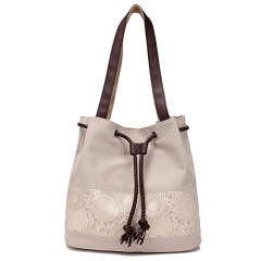 JoyismHandbags Printing Canvas Shoulder Bag Retro Casual Handbags beige f