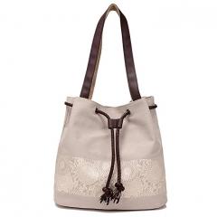 JoyismHandbags Printing Canvas Shoulder Bag Retro Casual Handbags beige f