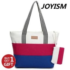 Joyism Handbag High Capacity Stripe Letter Patchwork Canvas Zipper Portable Bag red f