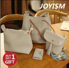 Joyism Handbags 4PCS Graceful Solid Color Design Women Luxury Shoulder Bags Tote grey f