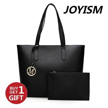 Joyism 2 color High Capacity Handbag Fashion Tote Shoulder bag. One large and one small black f