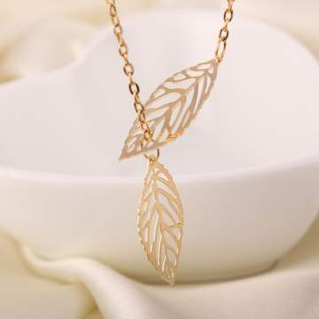 Gold And Sliver 1 Leaf Pendants Necklace Chain multi layer statement necklaces Woman silver sliver/golden f