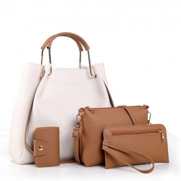 JoyismHandbags 4PCS Classic Fashion Women Luxury Handbag Shoulder Bags Tote White f