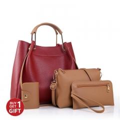 JoyismHandbags 4PCS Classic Fashion Women Luxury Handbag Shoulder Bags Tote Red f
