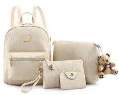 Joyism Women Backpack + Message Bag+Wallet + Card  Luxury PU Leather Genuine Bag white f