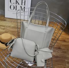 Joyism Handbags 4PCS Women Handbag + Message Bag+Wallet + Card Bag gray f