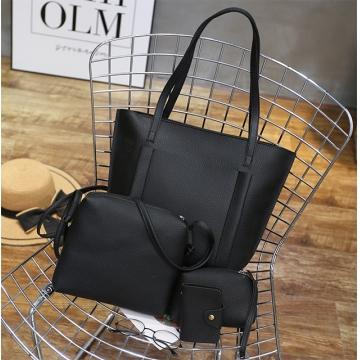 Joyism Handbags 4PCS Women Handbag + Message Bag+Wallet + Card Bag black f