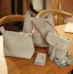 Handbags 4 PCS Graceful Solid Color Design Women Shoulder Bags Tote gray 35 * 28 * 17cm
